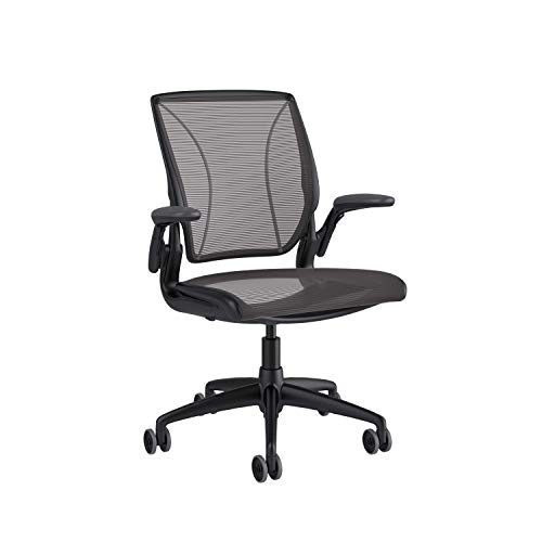 Humanscale Diffrient World Chair | Pinstripe Black Mesh Seat and Back | Black Frame with Black Trim | Height-Adjustable Duron Arms | 3' Carpet Casters, and 5' Cylinder