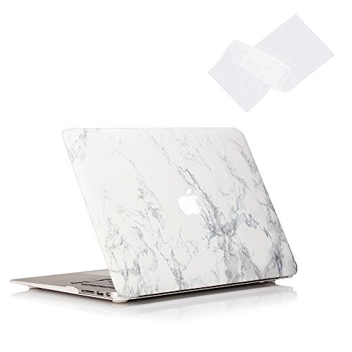 RUBAN Case Compatible with MacBook Air 11 Inch Release (A1370/A1465) - Slim Snap On Hard Shell Protective Cover and Keyboard Cover for MacBook Air 11, Marble
