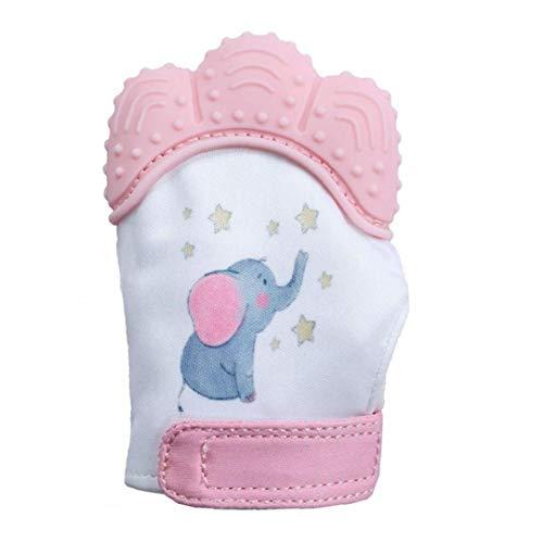 Bébé Sensorielle Stimulation Teething Mitaine De Qualité Alimentaire Silicone Teether Jouets Protection Anti-Rayures Gant avec des Cadeaux Sangle Réglable Rose Bébé Garçon