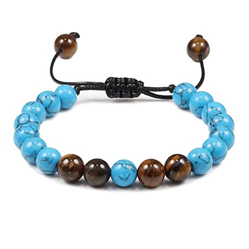 Beads Bracelets Men Lava Rock Stone Bracelet Bangle Adjustable Bright Black ZB-01 Bracelet (Color : Blue, Size : One Size)