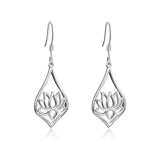 WINNICACA Lotus Flower Drop Earrings s925 Sterling Silver Yoga Jewellery for Women Gifts