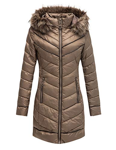 Bellivera Puffer Jacket Women,Lightweight Padding Bubble Hooded Coat with Fur Collar Warmth Outerwear 23707 Taupe M