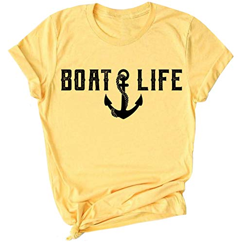 Boat Shirts for Women Boating T Shirt Boat Salt Lake Life Banana Cream -  Greenmill Apparel