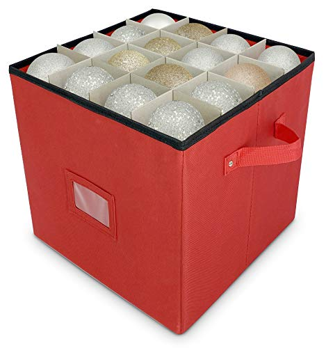 Christmas Ornament Storage - Stores up to 64 Holiday Ornaments, Adjustable Dividers, Covered Top, Two Handles. Attractive Storage Box Keeps Holiday Decorations Clean and Dry for Next Season. (Red)