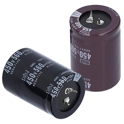 SEDOOM Capacitor Electrolítico De Aluminio 2pcs, 450V, 560 μF, 105 ℃, para Equipos De Audio Lámparas De Ahorro De Energía LED