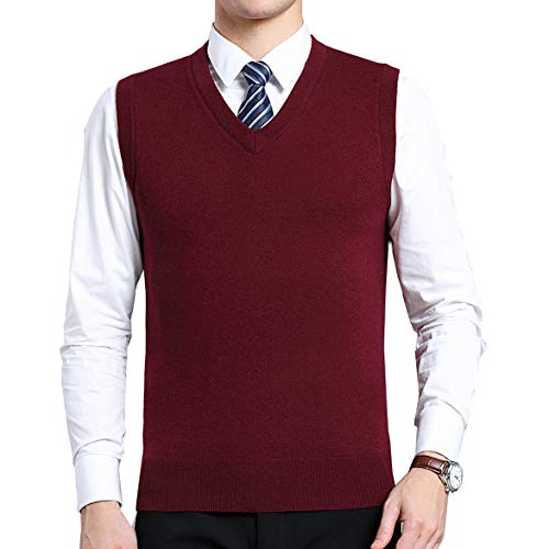 Biutimarden Herren West Ärmellose Pullunder Strickweste V-Ausschnitt Einfarbig Wollweste für Männer Klassische Gentleman