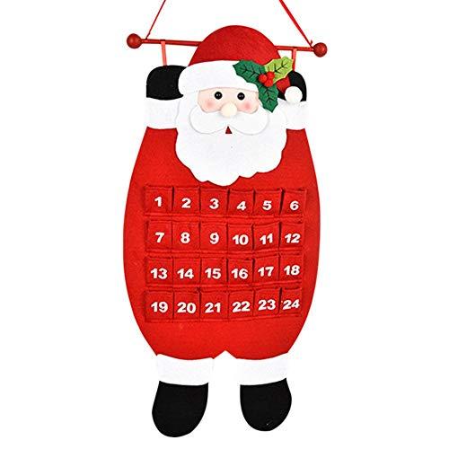 Christmas Decorations Santa Christmas Advent Calendar 2020, 3D Felt Haning Advent Calendar Reusable Countdown to Christmas Calendar for Kids