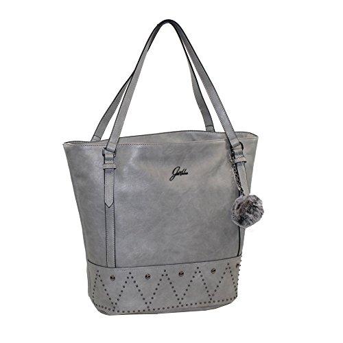 Glüxklee Henkeltasche Handtasche mit Bommel (silber)