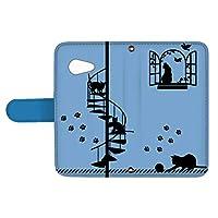 スマQ AQUOS SERIE mini SHV38 国内生産 カード スマホケース 手帳型 SHARP シャープ アクオス セリエ ミニ 【C.ブルー】 猫の家 シルエット ami_vd-0071