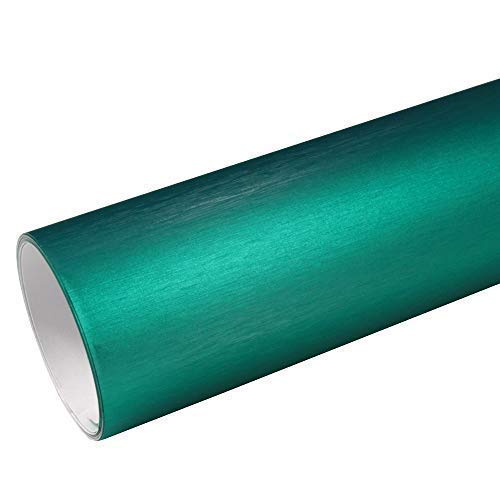 Rapid Teck® 8,55€/m² AutoFolie Serie z560 Chrom 3D Brushed Türkis 1m x 1,52m Alu gebürstet selbstklebende Premium Car Wrapping Folie mit Luftkanal
