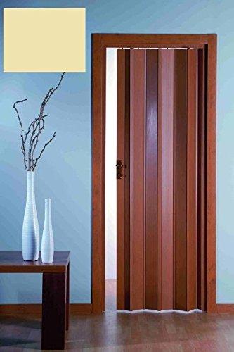 AWITALIA- La porta a soffietto PVC prodotta su misura è di colore AVORIO con maniglietta misura LargxAlt. 90x223 (SERRATURA E APERTURA CENTRALE OPTIONAL) I valori di larghezza si riferiscono alla porta estesa, nel caso di valori intermedi, si sceglie l'intervallo immediatamente superiore. In questi casi, la porta chiusa non sara' tesa. La guida superiore e i montanti laterali vengono forniti qualche cm. pi? lungo, (vanno tagliati con un seghetto).