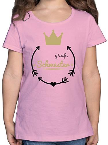 Geschwister Schwester - Große Schwester - Krone - 128 (7/8 Jahre) - Rosa - t Shirt Prinzessin - F131K - Mädchen Kinder T-Shirt