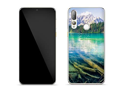etuo Hülle für HTC Desire 19 Plus - Hülle Foto Hülle - Bergsee Handyhülle Schutzhülle Etui Hülle Cover Tasche für Handy