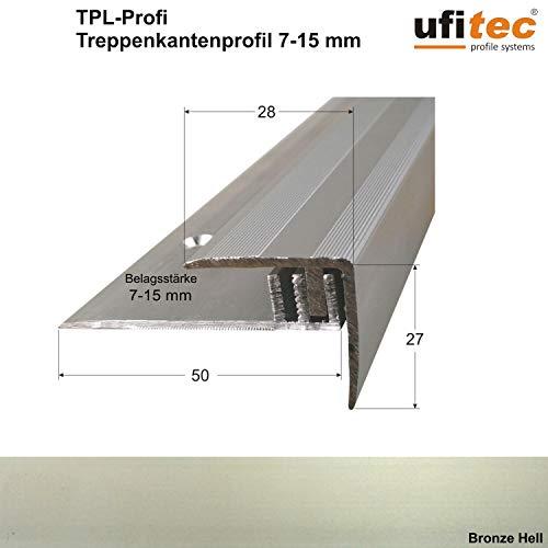 ufitec Profilsystem für Parkett- und Laminatböden - für Belagshöhen von 7-15 mm - viele Farben lieferbar (Treppenkantenprofil 270 cm lang, Bronze Hell)