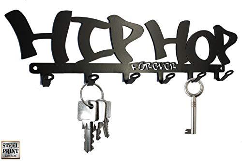 Schlüsselbrett - Hakenleiste * HIP HOP forever * - RAP Music - 6 Haken - schwarz - MEtall - BO´s design