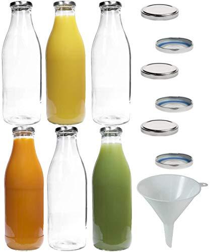 mikken 6X Glasflasche Milchflasche 1 Liter mit 12x PVC freiem Schraubverschluss inkl Trichter