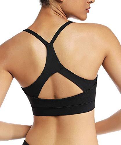 Yaavii Damen Sport BH ohne Bügel Gepolstert Yoga BH Push Up Frauen Bustier Atmungsaktiv Elastizität Sport Bra Top Schwarz2 XL