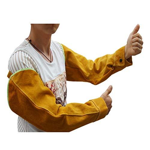 Mangas de soldadura resistentes al calor, mangas de trabajo de soldadura de cuero para hombres y mujeres, protector de brazo largo, amarillo