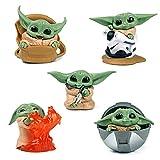 Nuevos Juguetes de Figuras de Acción de 5pcs One Set Baby Yoda Mando, Modelos Mini Baby Yoda, el Juguete Mandaloriano para niños, Regalos y Decoración Coleccionable