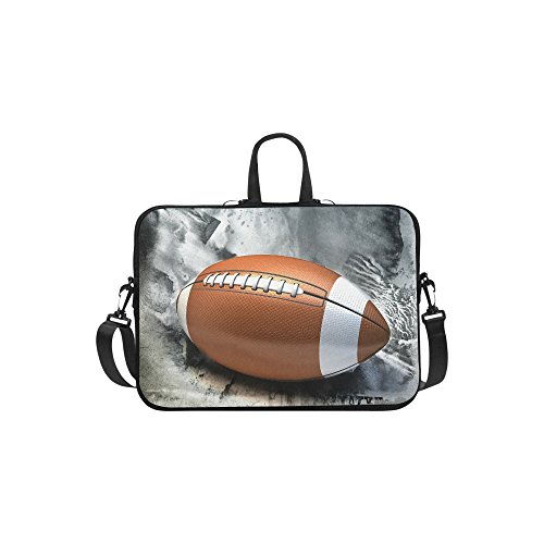 InterestPrint Sport Football Laptop Sleeve Case Bag, American Football Shoulder Strap Laptop Sleeve Notebook Computer Bag 15-15.6 Inch for MacBook Pro Air Dell HP Lenovo Thinkpad Acer Ultrabook