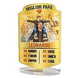 Babloo Targa in Plexiglass Card Football Personalizzata con Foto e Nome Stampa UV su Plexiglass Acrilico Idea Regalo Festa del papà (13X20)