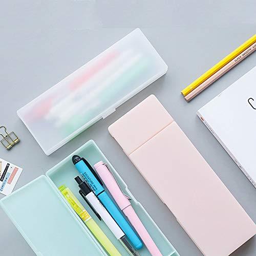 SENRISE - Estuche de plástico para lápices, organizador de bolígrafos, suministros escolares, estuche para estudiantes., blanco
