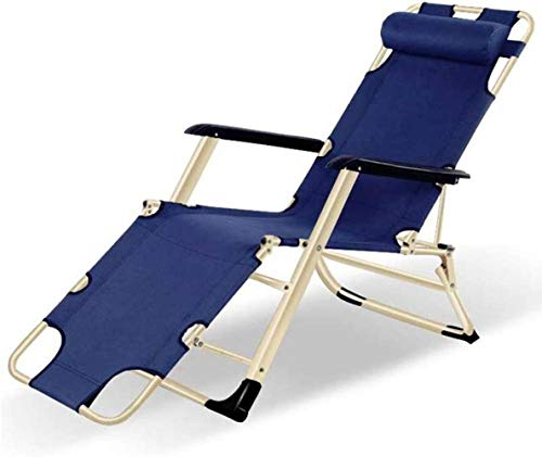 GBLight Beach Chair Sun Lounger Reclining armchairs, Chairs Folding Reclining Bed Leisure Folding Chair Folding Leisure Chair Lunch Break Hospital Bed (Color : Blue)