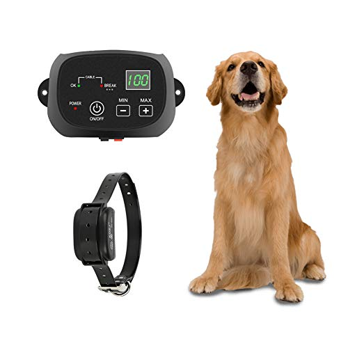 TTPet Electric Dog Fence, In-ground/Aboveground Pet Containment System, IP66 Waterproof&Rechargeable Collar, Shock&Tone Correction, for 1 Dog