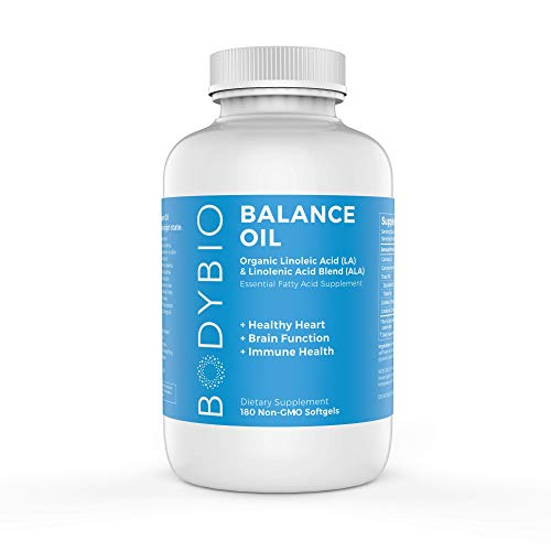 BodyBio Balance Oil - Essential Fatty Acids Omega 3 & 6 - Cold Pressed, Vegan, Organic Safflower and Flax Seed Oil Blend for Brain & Mood Support and Cellular Health, 180 Softgels