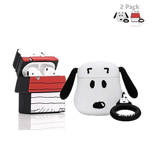 LEWOTE Airpods Carcasa de Silicona Compatible con Airpods de Apple 1 y 2 [Diseño de Dibujos Animados][Niñas o Parejas] (2Pack Snoopy/Snoopy House)