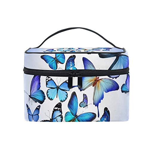 Blue Butterfly Cosmetic Bag Toiletry Travel Makeup Case Handle Pouch Multi-Function Organizer for Women