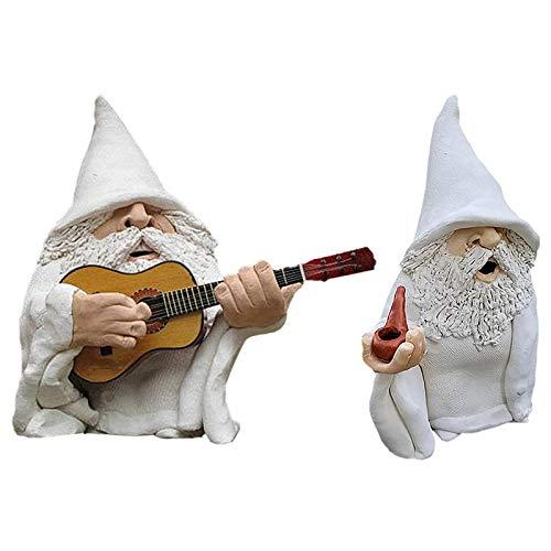 Smoking Wizard GNOME Naughty Garden GNOME Garten-Skulptur aus Polyresin, Wichtel-Statue mit Gitarre spielen, lustige Rasenfigur für Rasen, Balkon, Veranda, Terrasse