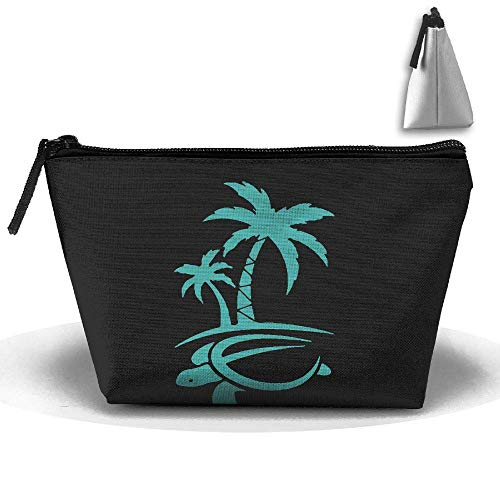Hawaiian Palm Tree and Sea Turtle Waterproof Trapezoidal Bag Cosmetic Bags Makeup Bag Large Travel Toiletry Pouch Portable Storage Pencil Holders
