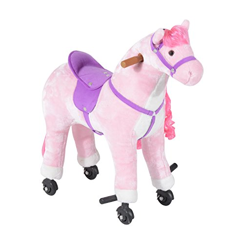 HOMCOM Plush Walking Horse Ride On Toy with Wheels and Realistic Sounds Rocking Horse for Girls Boys, 50cm Tall, Pink