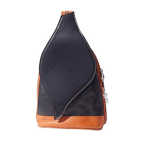 SilberDream Rucksackhandtasche Damen Rucksack Handtasche Leder schwarz, braun DrachenLeder Made in Italy OTF603S, 22x9x36 cm (L x B x H), Schwarz, Tan