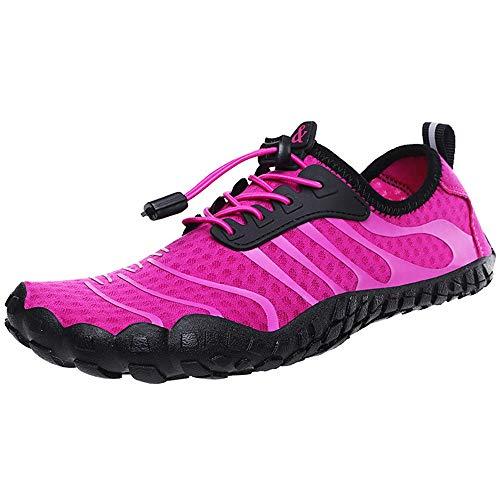 MOMIN Zapatos de Deportes de Agua para Hombre para Mujer Gran tamaño de los Zapatos al Aire Libre Antideslizante Playa Pareja Zapatos de vadeo Zapatos de Agua de Surf (Color : Red, Size : 41)
