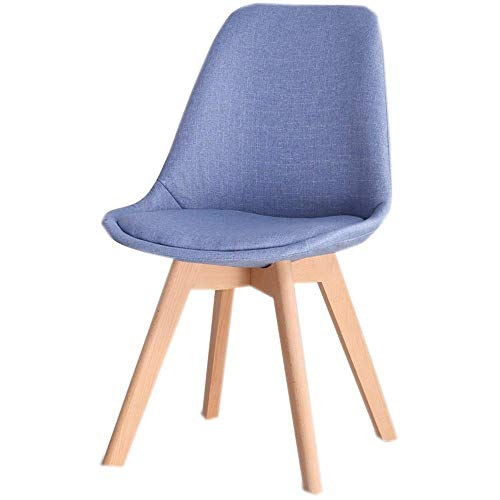 NBVCX Home Furnishing Decoration Solid Wood Seat Leisure Stool Sofa Home Office Back Computer Chair Single Fabric Chair Gray Blue 49×42×82cm (Color : Blue)
