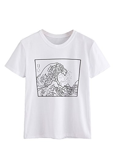Romwe Women's Short Sleeve Top Casual The Great Wave Off Kanagawa Graphic Print Tee