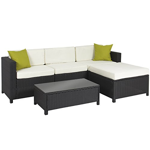 Best Choice Products 5-Piece Modular Wicker Patio Sectional Set w/Glass Tabletop - Black