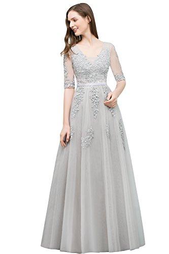Babyonlinedress® Elegant Lang Spitze Tüll Rückenfrei Abendkleid Ballkleid Hochzeit Brautjungfernkleid mit Aplikation 38
