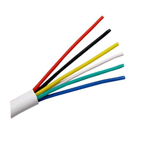 Ali\'s DIY Cable de alarma con aislamiento de PVC blanco de 6 núcleos, rollo completo y longitudes de corte personalizadas disponibles