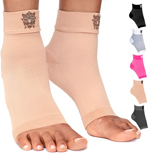 Bitly Plantar Fasciitis Compression Socks for Women & Men - Best Ankle Compression Sleeve, Nano Brace for Everyday Use - Provides Arch Support & Heel Pain Relief (Nude, Small)