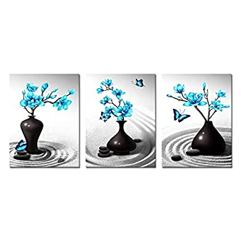 Visual Art Decor Modern Simple Life Picture for Bedroom Bathroom Black and White Blue Flowers Canvas Wall Art Framed Magnolia Zen Sand Stone Prints Decoration