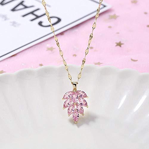 Halskette Titan Stahl Halskette Weiblich Kristall Zirkon Diamant Diamant Schwan Schlüsselbein Kette Pixiu Item Schmuck-T22 Pink Leaf Halskette