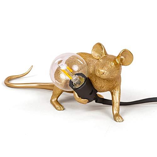 SELETTI Mouse Lamp Goud, Liggend naar beneden