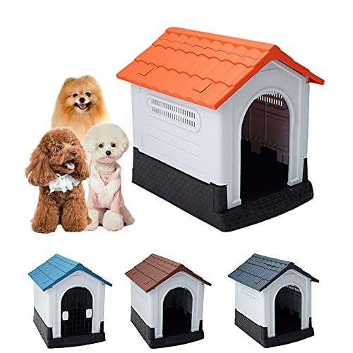 Caseta para Perros con Puerta, Caseta Perros Exterior Grande/Pequeña/Madera, Plastico Impermeable con Puerta, Refugio para Gatos Perros y...