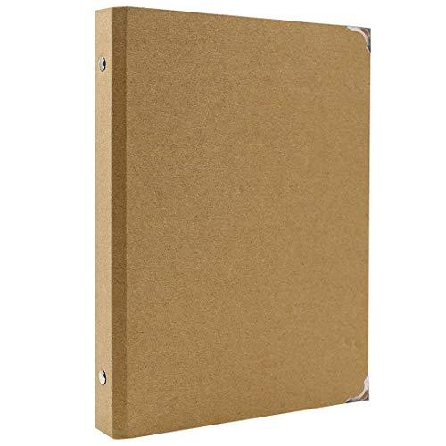 AiYoYo Archivador de anillas A5, 6 anillas, 235 x 175 mm, carpeta de papel de estraza para añadir, fundas para folletos, papeles de scrapbooking, hojas sueltas para la escuela, la oficina
