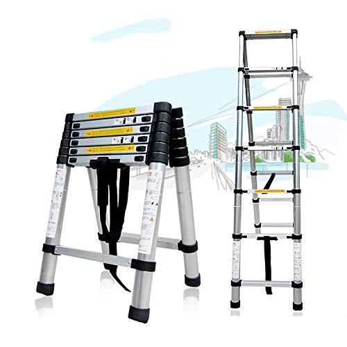 YXIAOL Aluminium Telescopische Ladder Extension Uitschuifbare Telescopische Stappen Met Gratis Draagtas Voor Thuis Kantoor Binnen Outdoor 150kg Capaciteit