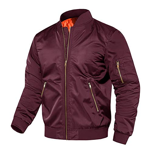 Mens Bomber Jacket Men's Casual Jacket with Zip Pocket Bomber Jacket Winter Coat Pilot Jacket Windbreaker Men Wine Red