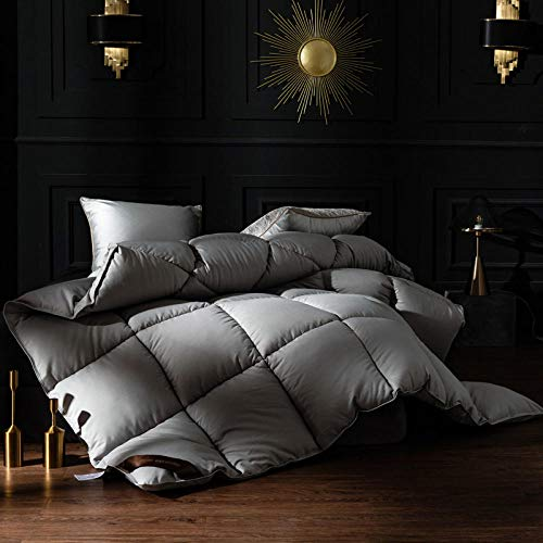 Kingsize Duvets All SeasonWithout the Weight White Goose Feather and Down Duvet 100% Cotton Shell Anti-dust mite-Feather-proof Fabric -Anti-allergy-gray_200x230cm-4000g